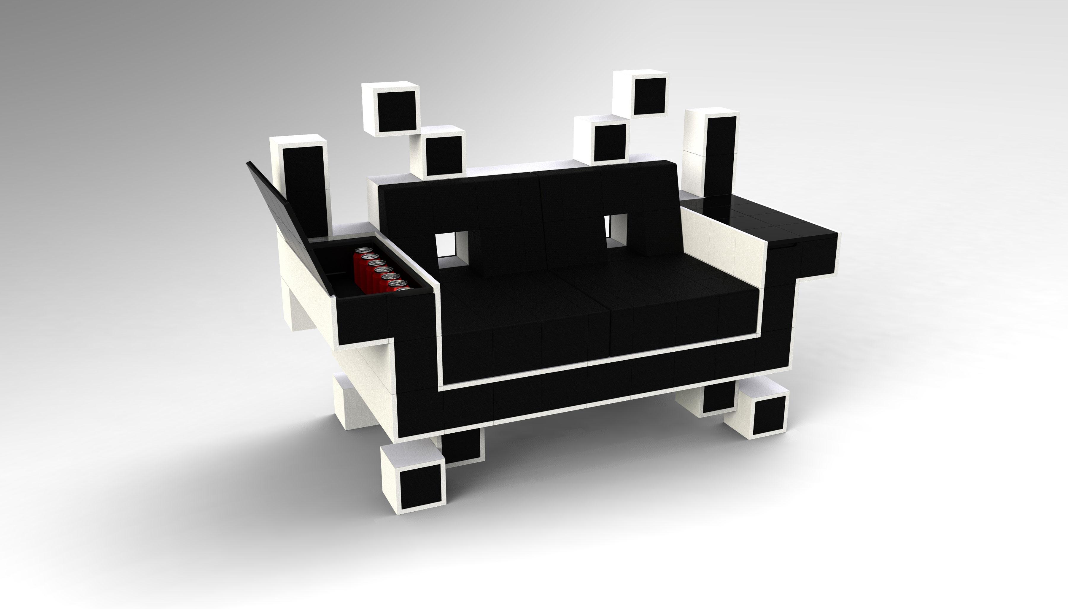 Canapé Space Invader par Igor Chak
