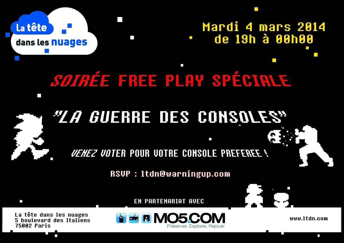 Guerre des Consoles, La Tête Dans les Nuages organise une soirée spéciale Free Play