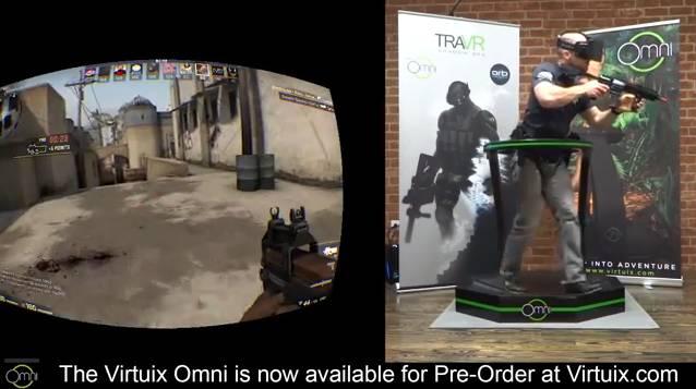 Virtuix Omni + Oculus Rift + controller U.S. Army rifle