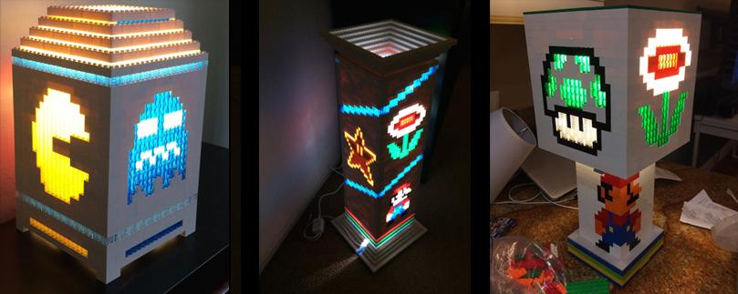 Lampes Super Mario Bros et Pacman en Lego