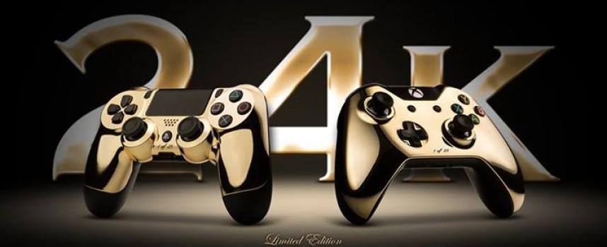 Manettes PS4 et Xbox One plaquées or