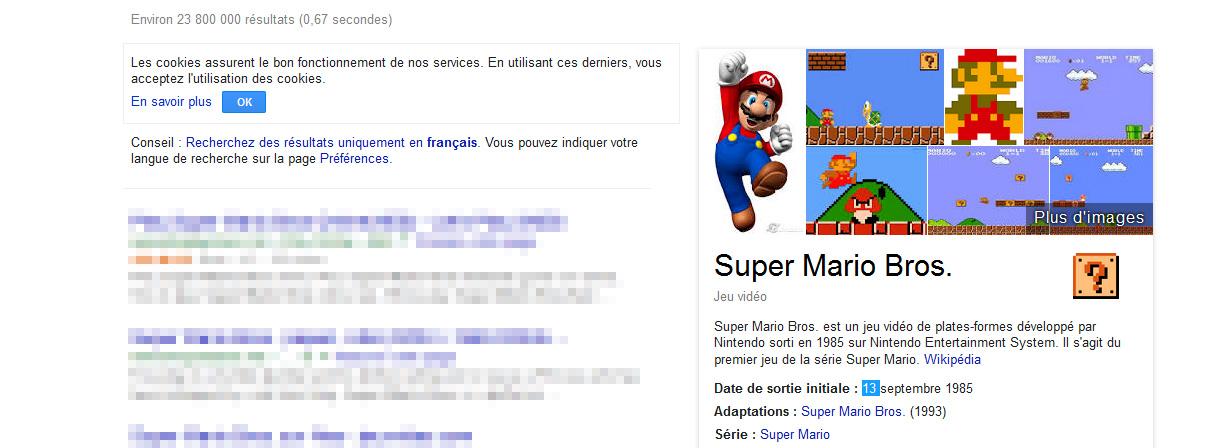Super Mario Bros, un nouveau easter egg pour Google