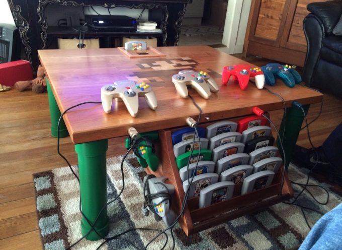 Mod Nintendo N64 – Il réalise une marqueterie Super Mario dans sa table de salon