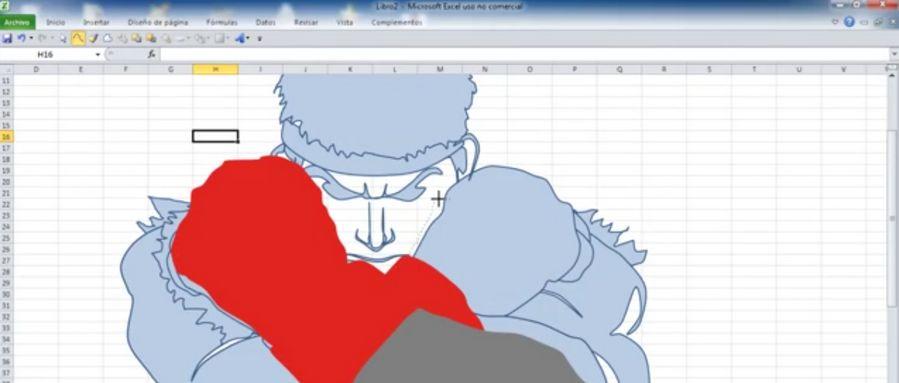 Il dessine le personnage de Ryu sous Excel