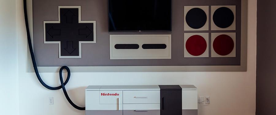Meuble de salle de jeux aux couleurs de la Nintendo NES