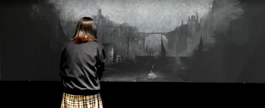 Un paysage de Dark Souls Ⅲ entièrement dessiné à la craie