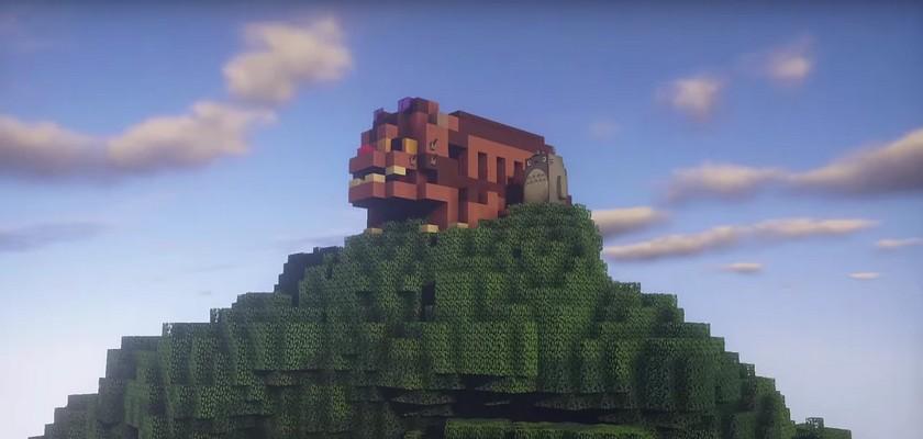 Les décors de l'animé Mon Voisin Totoro reproduit avec Minecraft