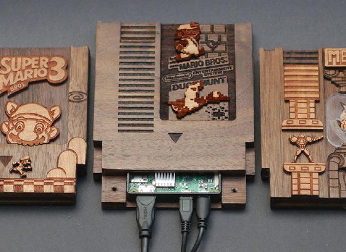 Coque Raspberry Pi cartouches Nintendo en bois.