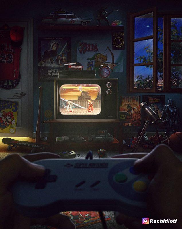 illustration Rachid Rotf - SNES - Street Fighter II